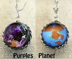 Pocket Universe Necklace Nebula on one side and Alien Planet on the other by Fractured Infinity FracturedInfinity.etsy.com Space Jewelry, Alien Planet, Planets, Infinity, Christmas Bulbs, Universe, Pocket, Holiday Decor, Etsy