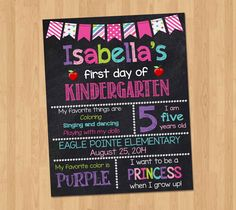 First Day of School Sign - First Day of Kindergarten Chalkboard Sign Printable Photo Prop - Personalized Back to School Pink - ANY GRADE by KidsPartyPrintables on Etsy https://www.etsy.com/listing/199730418/first-day-of-school-sign-first-day-of