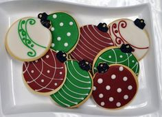 Christmas Cookies Ornament Hand Decorated Sugar   1 Dozen by baked, $34.00