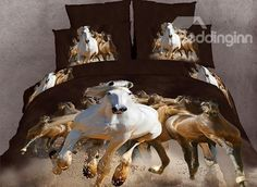2014 Modern bedding sets cotton Printed the bed linen queen size duvet cover bedclothes 3d Bedding Sets, Duvet Bedding, Comforter Sets, Sheets Bedding, Black Comforter, 3d Sheets, Bedding Decor, Horse Themed Bedrooms, Bedroom Themes