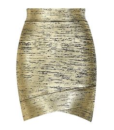 BCBG Max Azria Metallic Bandage Mini Skirt