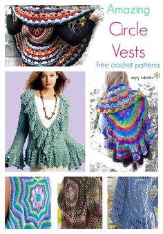 12 Amazing Free Circle Vest crochet patterns | SimplyCollectibleCrochet.com http://simplycollectiblecrochet.com/2017/03/free-circle-vest-crochet-patterns/