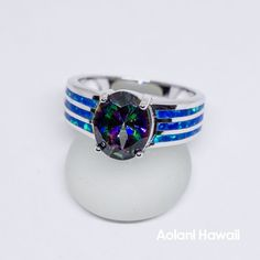 Mystic Topaz and Opal 925 Sterling Silver Inlay Ring Titanium Wedding Rings, Custom Wedding Rings, Hawaiian Wedding Rings, Rainbow Topaz, Ring Crafts, Mystic Topaz, Blue Opal, Jewels, Sterling Silver