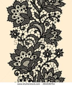 Vertical Seamless Pattern. Black Lace.