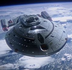USS Voyager in orbit of a frontier planet, out in the Delta quadrant