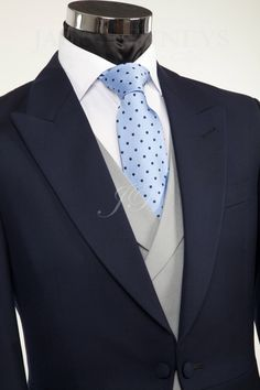 Morning suit with blue tie