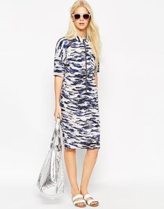 Textile Federation for ASOS Shirt Dress with Zip Detail