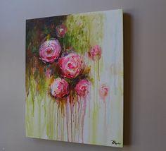 bloem schilderij origineel schilderij kunst aan de door artbyoak1