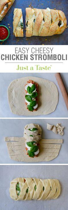 Easy Cheesy Chicken Stromboli #recipe on justataste.com