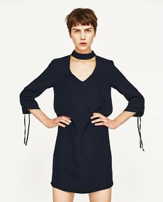 Image 3 of CHOKER DRESS WITH GATHERED SLEEVES from Zara