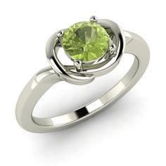 0 44 Ct Peridot Solitaire Engagement Ring Solid 14kt White Gold | eBay