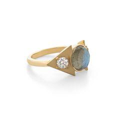 Eden Ring / Larisa Laivins / Labradorite and diamonds set in sandblasted 18k gold.