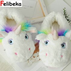 d22e2577747 Winter new Parent-child style Unicorn Home Slippers for Women and Kids  Cotton House Shoes