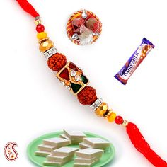 Kundan and Rudraksh Beads Rakhi