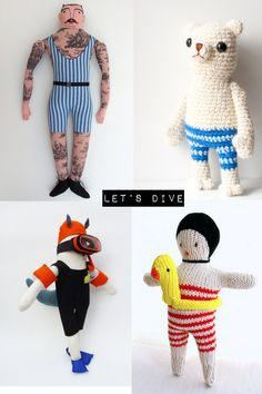 Swimmer doll - Dentsdeloup, bear - Sofiasobeide,  tattooed doll  - Mimi Kirchner , diver - Julie de Gruchy East