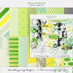 Love the bright and cheery yellow and green! #digiscrap Oscraps :: Shop by Designer :: TaylorMade Designs :: Rise and Shine Page Kit