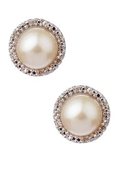 7mm Cultured Pearl Diamond Halo Stud Earrings - 0.05 ctw by Savvy Cie on @nordstrom_rack
