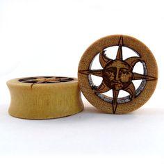 "Cutout Sun Yellowheart Wooden Plugs 7/8"" (22mm) 1"" (25.5mm) 1 1/8"" (28mm) 1 1/4"" (32mm) 1 1/2""(38mm) (44mm) on Etsy, $55.00"