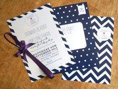 wedding invitation set in navy with blackberry satin ribbon Wedding Invitation Sets, Wedding Stationery, Striped Wedding, Candy Stripes, Stripes Design, Sticker Design, A5, Creative Business, Blackberry