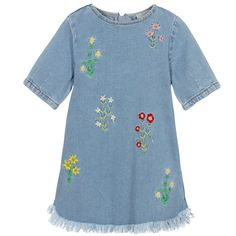 Floral Embroidered Bess Dress: The yarn of this garment is made with organically grown cotton.  Available in sizes 2 year-10 year at our Upper West Side location, were we offer free shipping through out the United States give us a call P# (212) 362-3200