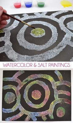 Watercolor and salt paintings - process art for kids