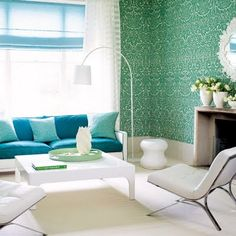 turquoise rooms | green & turquoise damask living room wallpaper