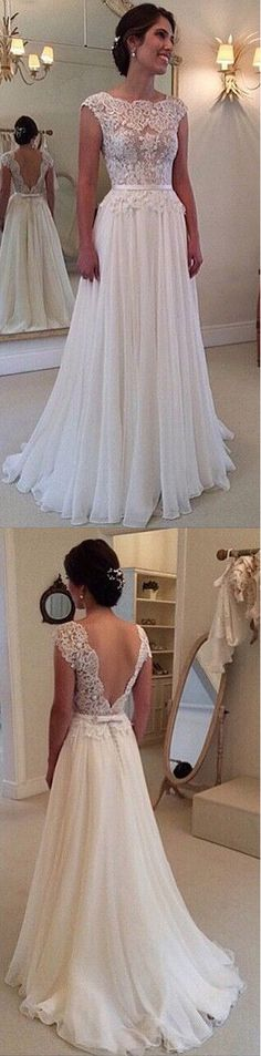 Ombreprom 2017 Custom Made A Line Wedding Dresses Chiffon Lace See through Backless Bridal Gown Wedding gown