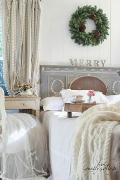 A little bit Merry- Cottage Bedroom Christmas Details - FRENCH COUNTRY COTTAGE
