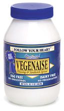 veganaise mayo: vegan mayo. The grapeseed oil version in the purple label jar is my favorite. Staple in my kitchen.
