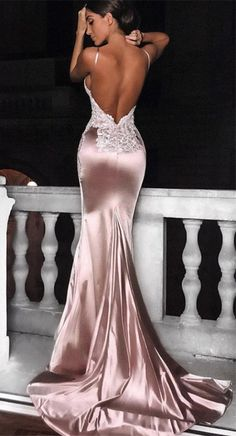 Mermaid Spaghetti Straps Backless Long Pink Prom Dress with Appliques - sexy backless pink mermaid prom dresses,simple long prom dresses with appliques,cheap prom dresses for teens Source by aliyacataleya - Prom Dresses Long Pink, Deb Dresses, Cheap Prom Dresses, Ball Dresses, Elegant Dresses, Pretty Dresses, Evening Dresses, Backless Maxi Dress Formal, Long Dress For Prom