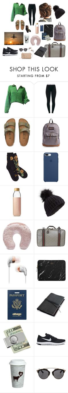 """""""travel chic"""" by aiva-lemesh on Polyvore featuring Jean-Paul Gaultier, Birkenstock, JanSport, Apple, Soma, Miss Selfridge, Forever 21, Gucci, eBags and NIKE"""