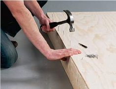 Driving nails through plywood coffee table base