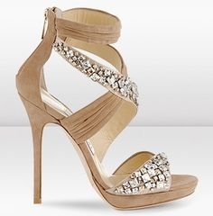 this nude sparkle high heel shoe