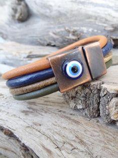 Men's Evil Eye Bracelet Multicolor Leather with Copper | Etsy Evil Eye Jewelry, Evil Eye Bracelet, Jewelry Shop, Jewellery, Artisan Jewelry, Gifts For Him, Leather Men, Copper, Bracelets
