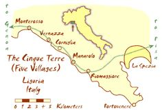 5 Terre - beautiful villages in Liguria, Italy.