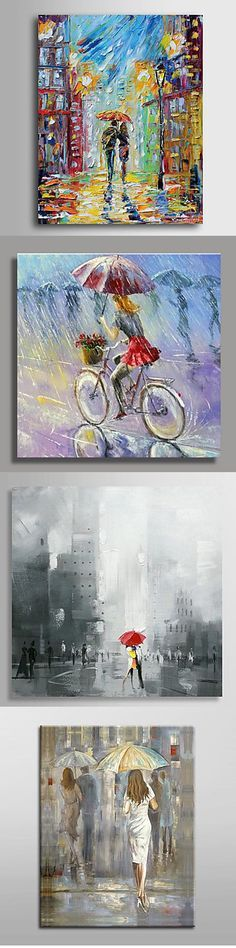 """Abstract oil art! All of the paintings above are united with the """"people under umbrella"""" theme. Some are bright and colorful, others are grey and a bit sad. what do you think about them? Click on the picture to see more."""