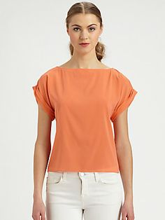 Alice + Olivia Papaya Stretch Silk Blouse