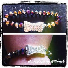 Bow rhinestone bracelet with Swarovski crystals elastic.