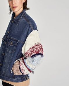 Image 9 of DENIM JACKET WITH CONTRASTING SLEEVES from Zara