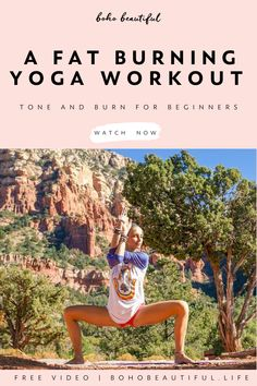 Yoga Workout Tone & Burn - Boho Beautiful - Shot in the beautiful surrounding of Sedona, this yoga class is perfect for waking up the body and - Pilates Workout, Pilates Yoga, Yoga Workouts, Pilates Reformer, Exercise, Yoga Poses For Beginners, Workout For Beginners, Yoga Flow, Yoga Fitness