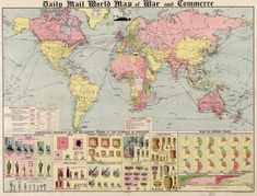 Daily Mail world map of war and commerce from 1917