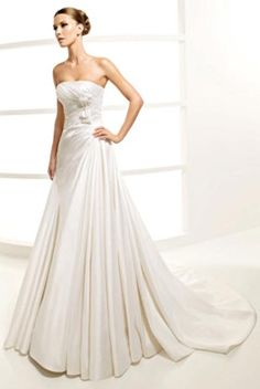 Strapless Floor Length Wedding Dress with Bow Tie