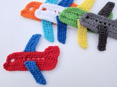 "1pc 6"" Crochet AIRPLANE Applique"