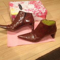 Booties Brown/ reddish crocodile bootie DKNY Shoes Ankle Boots & Booties