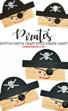 This Craft Stick Pirate Craft is a great summer craft or a fun craft to make for Talk Like a Pirate Day on September Pirate Day, Pirate Birthday, Pirate Theme, Happy Birthday, Birthday Parties, Daycare Crafts, Toddler Crafts, Preschool Crafts, Cute Crafts