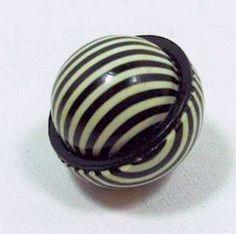 "1920s Celluloid Art Deco Optical Striped Black White 3 4"" Ball Button"