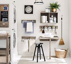 Smart and stylish, with a rail-and-peg system plus shelves, a hanging canvas hamper and a drying rack, our collection elevates the usefulness and style of the laundry room. Because it's modular, it can be configured to suit various spaces Compact Laundry, Small Laundry, Laundry Rooms, Laundry Area, Laundry Closet, Laundry Solutions, Storage Solutions, Storage Systems, Modular Storage