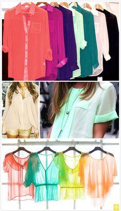 Chiffon shirts. look like they may be fairly easy to make. hmmmmm.   SEWING IDEA! :)