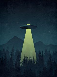 Forest UFO Mini Art Print by vectordreams Alien Aesthetic, Aesthetic Space, Aesthetic Drawing, Colorful Drawings, Art Drawings, Alien Painting, Image Deco, Cosmic Art, Aliens And Ufos