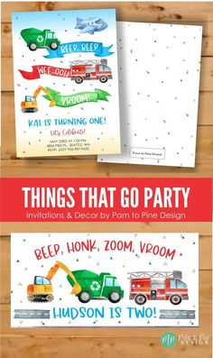 The cute watercolor design with transportation vehicles set the perfect theme for little boy birthday party guests. This transporation invite is customized for your son or daughters, twins or siblings birthday party and is great for any age, not just a 2nd birthday! Sibling Birthday Parties, Horse Birthday Parties, Birthday Yard Signs, Birthday Party Themes, 2nd Birthday, Birthday Activities, Summer Birthday, Horse Party Decorations, Transportation Birthday